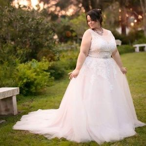Plus size 16 Wedding dress A-line blush ivory